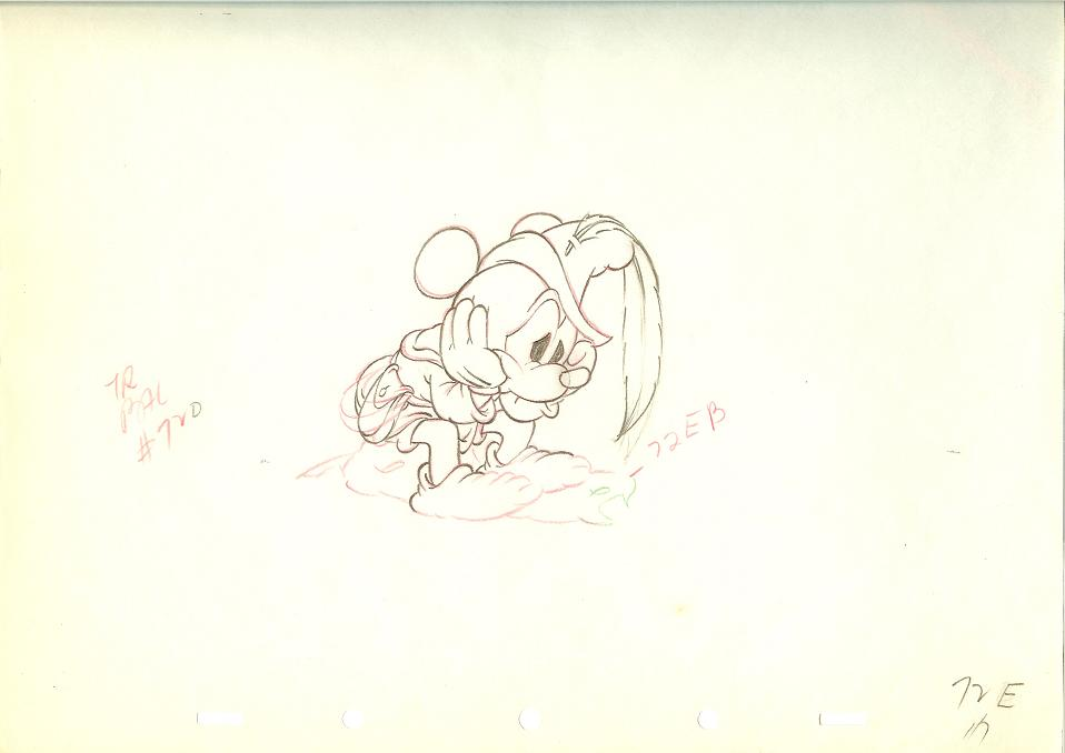 Animation Cel Drawing Mickey Mouse on Rock