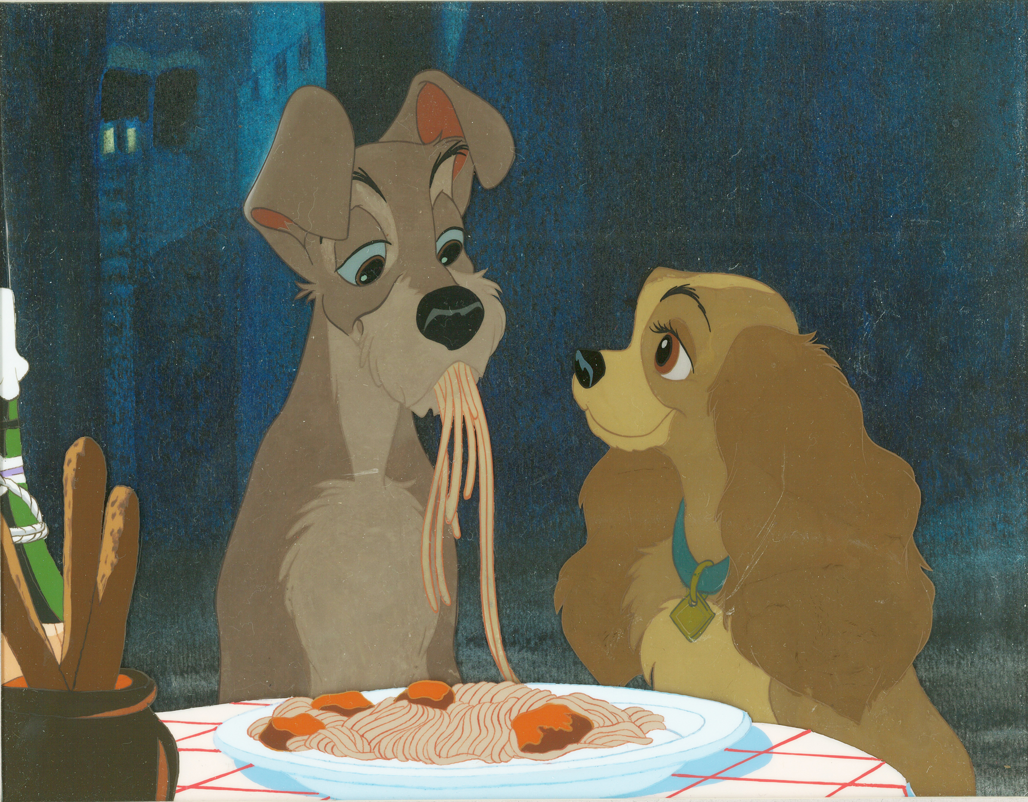 Featured Animation Art Cel Bella Notte Lady Tramp Lady And The Tramp 1955 Disney Studios Sold Animation Art Studio