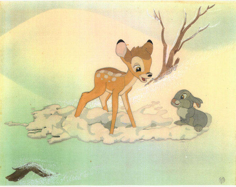 Animation Cels of Bambi and Thumper On Ice