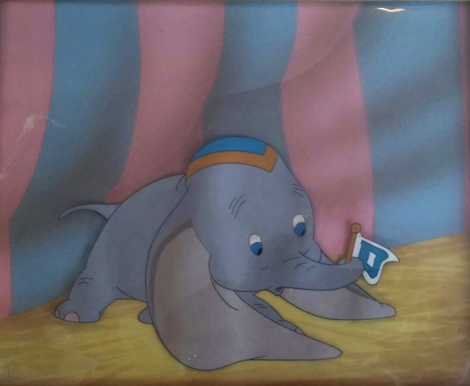 Animation Cel of Dumbo and His Flag