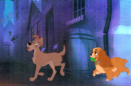 Animation Cels of Lady and the Tramp