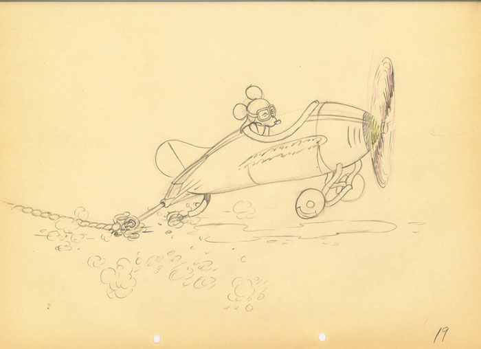 Animation Cel Drawing Mickey Mouse in Plane