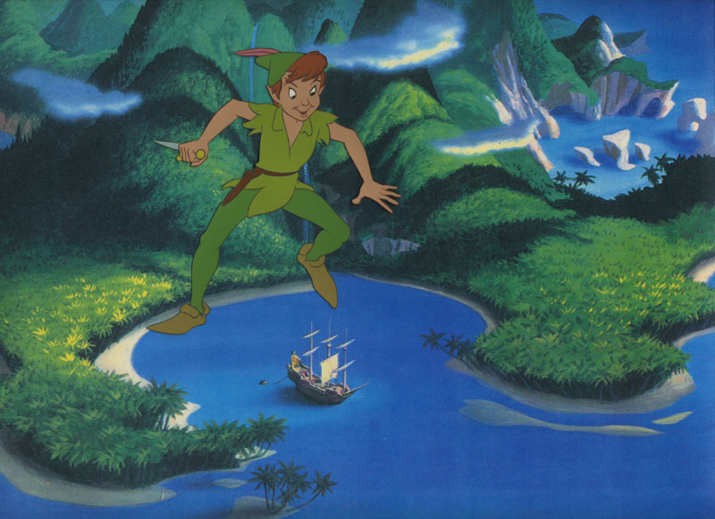 Animation Cel of Peter Pan Flying