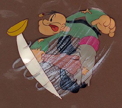 Animation Cel of Popeye and magic sword