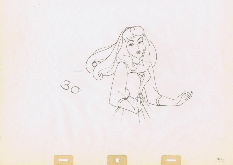 Animation Cel Drawing of Sleeping Beauty as Briar Rose