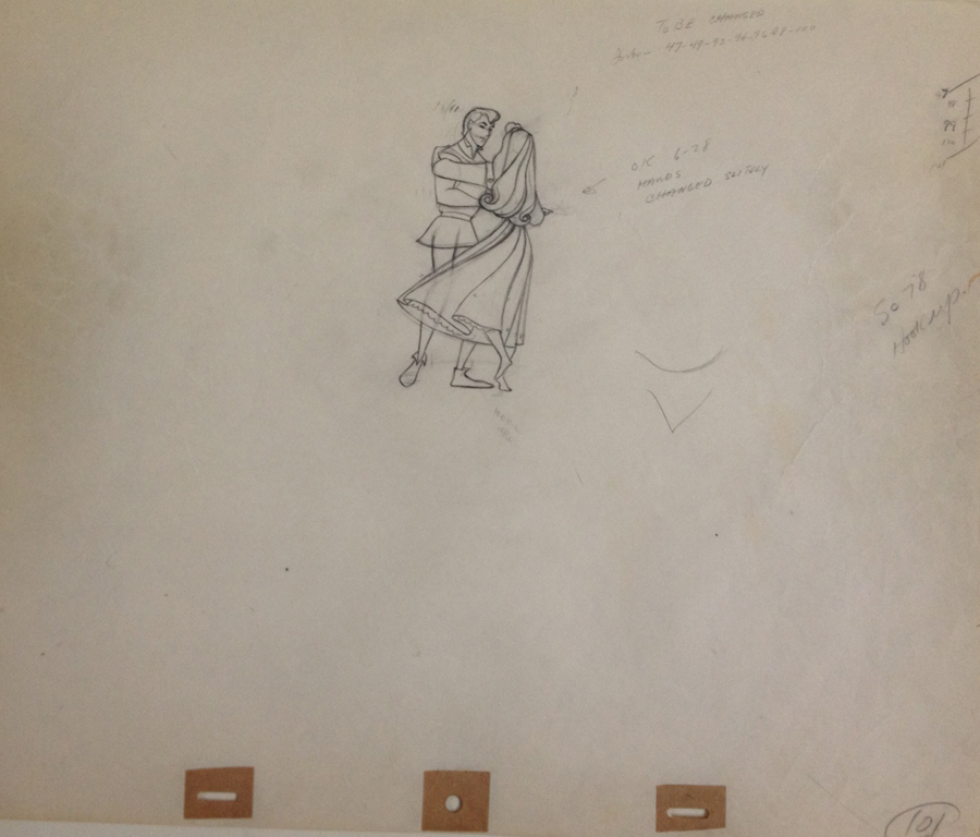 Animation Cel Drawing Prince Phillip and Briar Rose Dancing