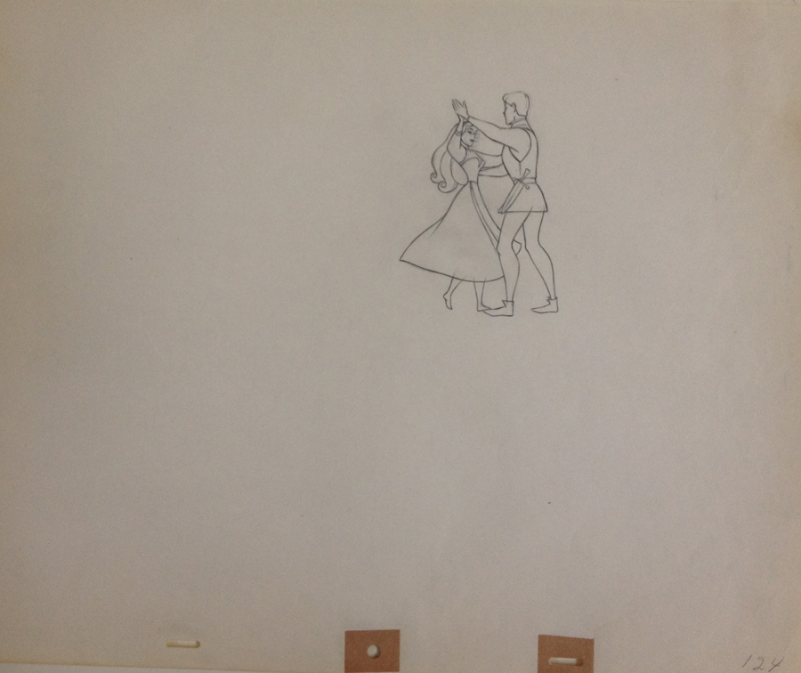 Animation Cel Drawing Briar Rose and Prince Phillip Dancing