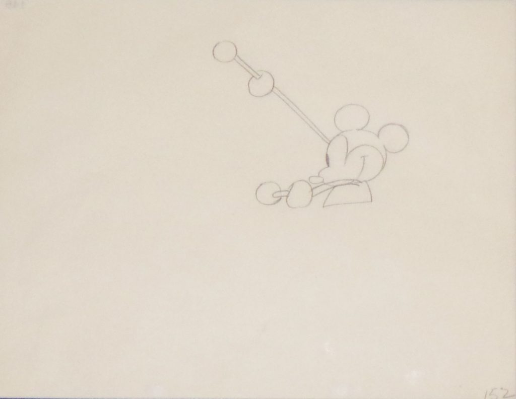 Animation Cel Drawing Mickey Mouse with Drumsticks