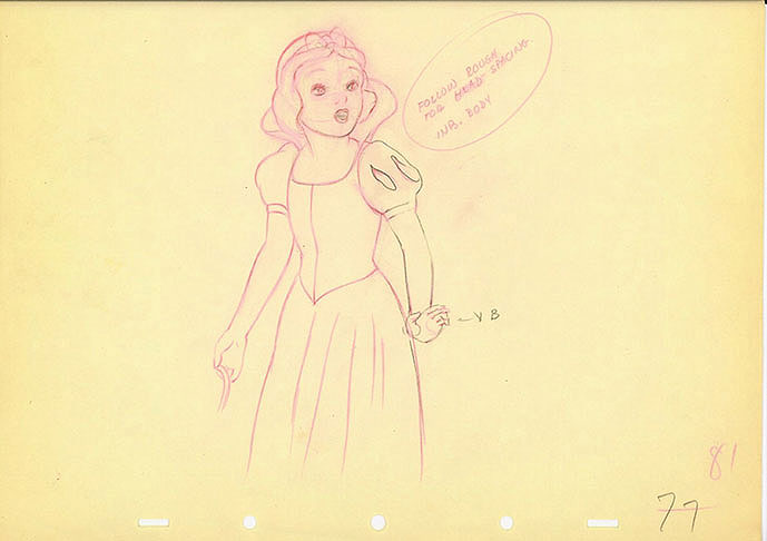 Animation Cel Drawing of Snow White