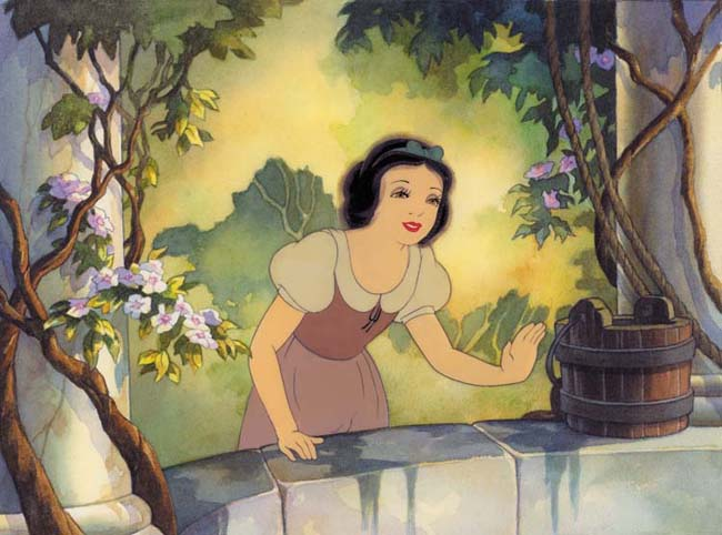 animation cel of snow white at the well