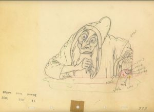 Animation Cel Drawing from Snow White, The Witch, Poison Apple