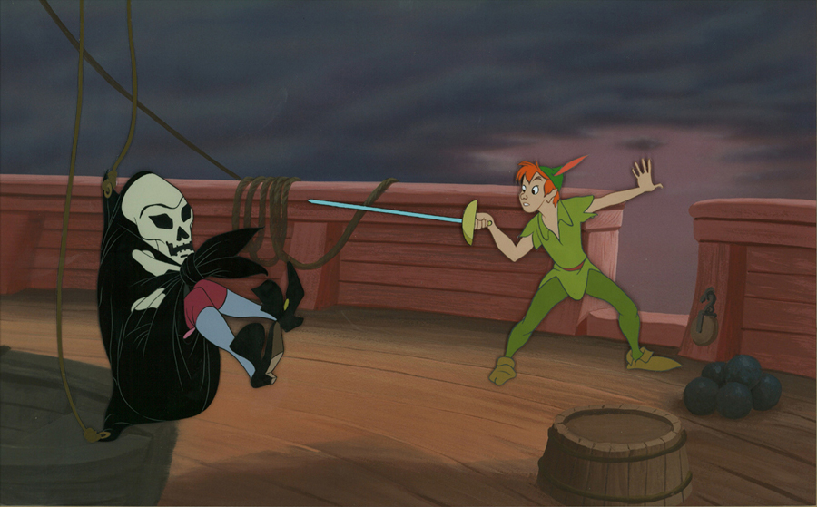 Animation Cels of Peter Pan & Captain Hook on Production Background